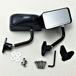 F3 Racing Side Mirror Black Dipping Carbon Look For Cr v Civic Rsx S2000 Nsx