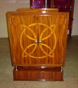 Large Inlaid Art Deco Style Cabinet Bar