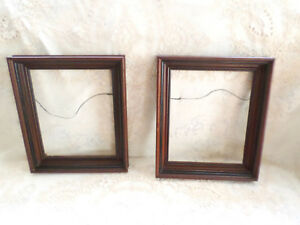 Vtg Pair Of Antique Wood Deep Well Shadow Box Picture Frame Victorian Eastlake