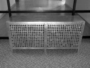Vtg Signed Phyllis Morris Cabinet Credenza Silver Leaf Micro Mirrors Glam