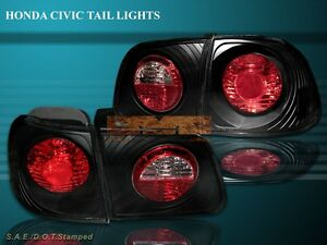 Fit For 99 00 Honda Civic 4d 4dr Sedan Jdm Black Tail Lights