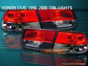 96 00 Honda Civic Tail Lights Red Smoke 2dr Coupe 98 99