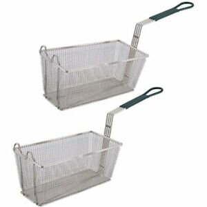 Kitchen Dining Fryer Basket Set Of 2 13 1 4 6 1 2 with Plastic Green Handle