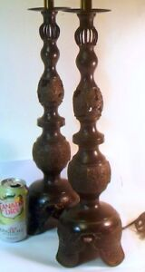 Superb Pair Brass Bronze Chinese Candlestick Lamps 34 H James Mont Attrib Chic