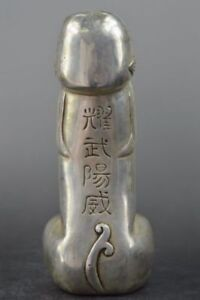 Handwork Collection Decoration Miao Silver Carve Penis God Best Unique Statue