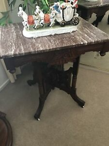 Antique Walnut Victorian Marble Top Table Small Table