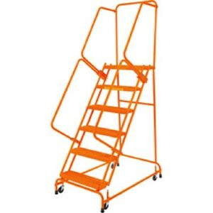 New Perforated 24 w 6 Step Steel Rolling Ladder 14 d Top Step W handrails