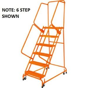 New Perforated 16 w 5 Step Steel Rolling Ladder W 21 d Top Step W Handrails
