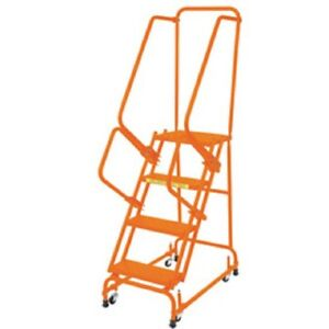 New Perforated 16 w 4 Step Steel Rolling Ladder 14 d Top Step W Handrails