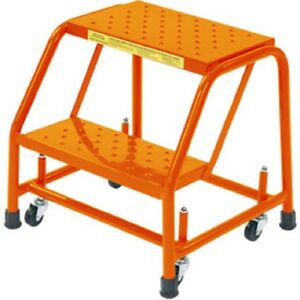 New Perforated 16 w 2 Step Steel Rolling Ladder 10 d Top Step