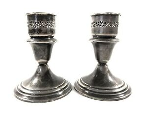Antique Pair Of Estate Gorham Sterling Silver Candlesticks Candleholder