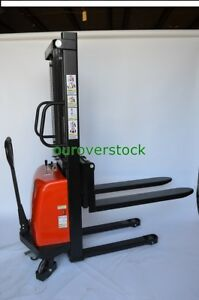 Fork Over Manual Push Electric Lift Stacker 3 300 Lb 63 Lift Height