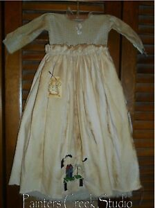 Primitive Wall Decor Dress Green Check W Apron Sheep Saltbox Grungy Cupboard