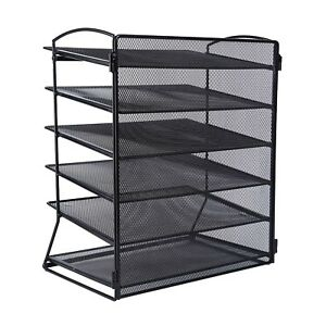 Metal Mesh Desktop File Organizer Tray Office Supply Storage Holder Desk 6 Tier
