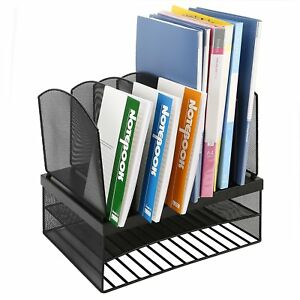 2 tier Metal Mesh Desktop File Organizer Tray Office Supply Storage Holder Desk
