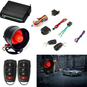 Car Vehicle Alarm Protection Burglar System Keyless Entry Siren 2 Remote Control