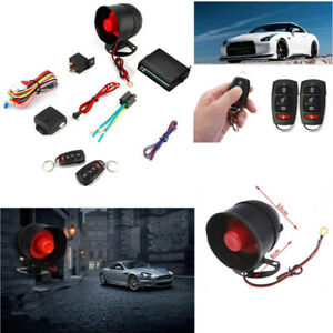 1 Way Car Alarm Protection Security Siren System 2 Remote Control Keyless Entry