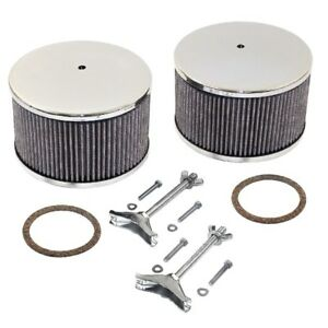 Empi 8801 Chrome Round Air Cleaner Assembly Solex Kadron 5 3 4 X 3 3 4 Pair