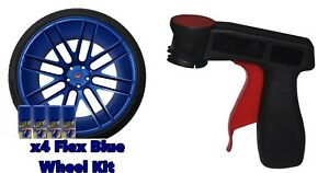 Performix Plasti Dip Flex Blue 4 Pack Wheel Kit Spray Aerosol Cans With Trigger