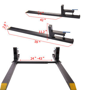 43 Lw Clamp On Pallet Forks 1 500 Lb Capacity W Stabilizer Bar