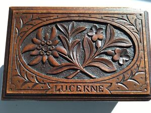 Black Forest Hand Carved Wooden Small Box Lucerne Souvenir
