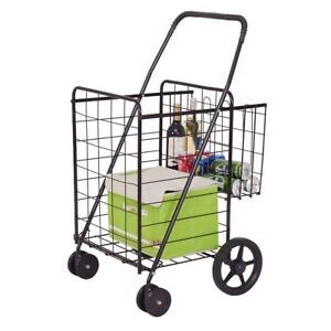 Fold Away Shopping Cart Basket Grocery Laundry Travel Heavy Duty Rear Wheels