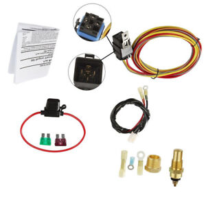Car Electric Cooling Fan Wiring Harness Kit 185 On 165 Off Thermostat 40a Relay