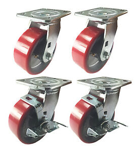 4 Swivel Casters 6 Heavy Duty Cast Iron Hub Non Skid Mark Wheels 2 Swivel Brake