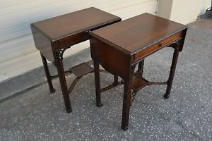 Pair Of Rare Fabulous 1930 S Chinese Chippendale End Tables