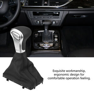 Black Leather Gear Shift Stick Knob Gaiter Boot Cover For Audi A6 12 15 Lj4