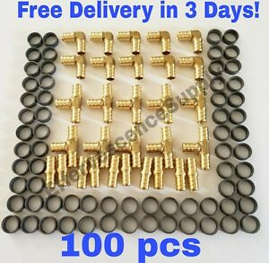 100 Pcs 1 2 Pex Crimp Fittings With Copper Crimp Rings