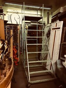 Functional Vintage Industrial Simple Rolling Steel Scaffold Ladder With Rails