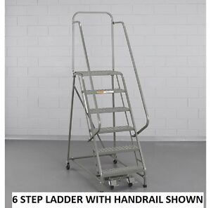 New Ega Steel Industrial Rolling Ladder 2 step 16 Wide Perforated 450lb Cap