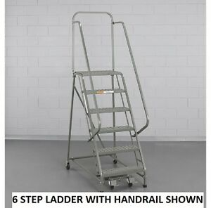 New Ega Steel Industrial Rolling Ladder 2 step 24 Wide Perforated 450lb Cap