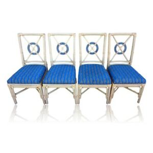 Vintage Set Of 4 Mcguire Style Target Back Dining Chairs Rattan Rawhide Fretwork