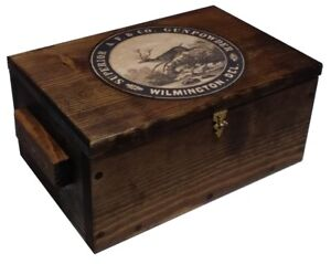 Rustic Wood Hunting Box - Gun Storage Ammo Crate Pistol Safe - Powder Ad - Deer