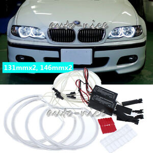 4x Ccfl Angel Eyes Halo Rings Led Light White For Bmw E46 3 Series Non Projector