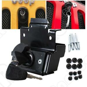 Hood Lock W keys Anti theft Kit Assembly Set For Jeep Wrangler Jk