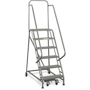 New Ega Steel Industrial Rolling Ladder 6 step 20 Wide Perforated 450lb cap