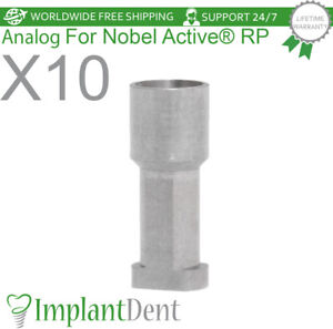 10 Implant Analog For Nobel Biocare Active Hex Rp Dental Abutment