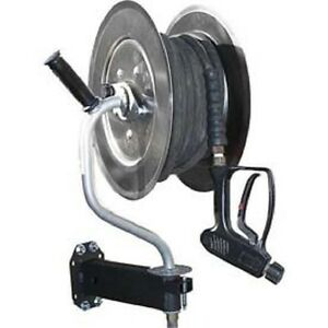 New 360 Pivoting Stainless Steel Pressure Washer Hose Reel 150 Capacity