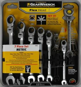 New Gearwrench 7 Piece Flex Head Ratcheting Combination Wrench Metric Mm