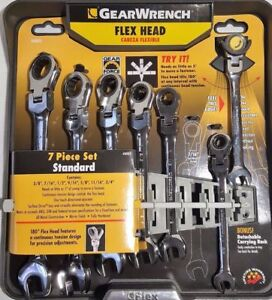 New Gearwrench 7 Piece Flex Head Ratcheting Combination Wrench Set Sae