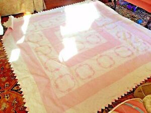 Antique Quilt Done In The Pinks And White Also They Have Embroideredf Lower