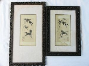 Antique Chinese Horse 2 Watercolor Paintings On Silk Dragon Carved Wood Frams