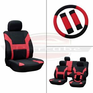 11pcs Full Set New Red Black Soft Washable Auto Car Seat Covers For Porsche