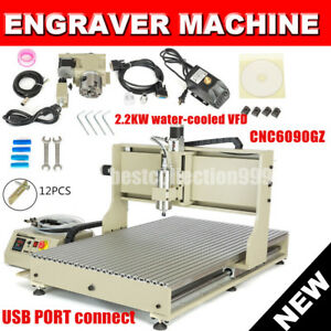 4 Axis 6090 Cnc Router Engravering 2 2kw Vfd Water cool Drilling Milling Machine