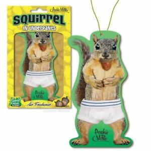 Squirrel In Underpants Deluxe Air Freshener Fresh Forest Scent Archie Mcphee