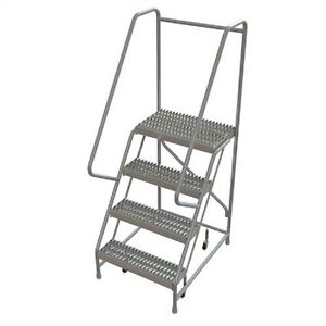 New 4 Step Aluminum Rolling Ladder 24 w Grip Tread 21 d Top Step 32 Handrails