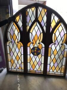 Mar Chalice Antique Gothic Stained Glass Window Arch Top 6 X 66